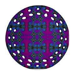 Purple Seamless Pattern Digital Computer Graphic Fractal Wallpaper Round Filigree Ornament (two Sides)