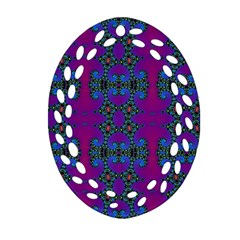 Purple Seamless Pattern Digital Computer Graphic Fractal Wallpaper Oval Filigree Ornament (Two Sides)
