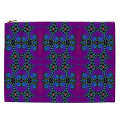 Purple Seamless Pattern Digital Computer Graphic Fractal Wallpaper Cosmetic Bag (XXL)