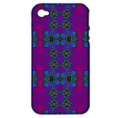 Purple Seamless Pattern Digital Computer Graphic Fractal Wallpaper Apple iPhone 4/4S Hardshell Case (PC+Silicone)