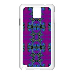 Purple Seamless Pattern Digital Computer Graphic Fractal Wallpaper Samsung Galaxy Note 3 N9005 Case (White)