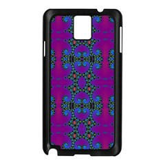 Purple Seamless Pattern Digital Computer Graphic Fractal Wallpaper Samsung Galaxy Note 3 N9005 Case (Black)