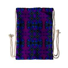Purple Seamless Pattern Digital Computer Graphic Fractal Wallpaper Drawstring Bag (small)