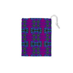Purple Seamless Pattern Digital Computer Graphic Fractal Wallpaper Drawstring Pouches (XS)