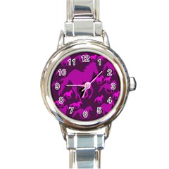 Pink Horses Horse Animals Pattern Colorful Colors Round Italian Charm Watch