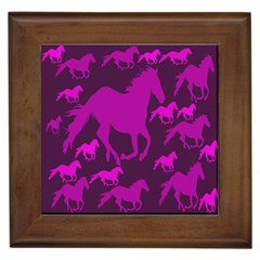 Pink Horses Horse Animals Pattern Colorful Colors Framed Tiles