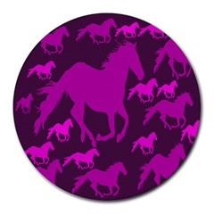 Pink Horses Horse Animals Pattern Colorful Colors Round Mousepads