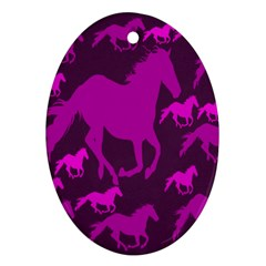 Pink Horses Horse Animals Pattern Colorful Colors Ornament (oval)