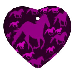 Pink Horses Horse Animals Pattern Colorful Colors Ornament (Heart)