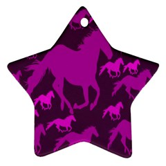 Pink Horses Horse Animals Pattern Colorful Colors Ornament (star)