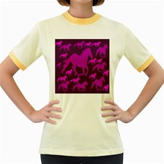Pink Horses Horse Animals Pattern Colorful Colors Women s Fitted Ringer T-Shirts