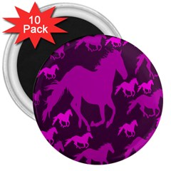 Pink Horses Horse Animals Pattern Colorful Colors 3  Magnets (10 Pack)