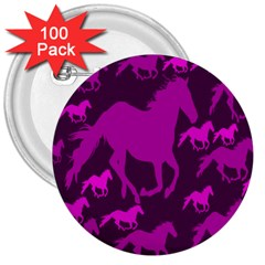 Pink Horses Horse Animals Pattern Colorful Colors 3  Buttons (100 pack)
