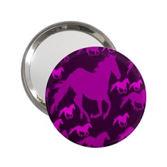 Pink Horses Horse Animals Pattern Colorful Colors 2 25  Handbag Mirrors