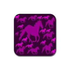 Pink Horses Horse Animals Pattern Colorful Colors Rubber Coaster (square)