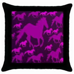 Pink Horses Horse Animals Pattern Colorful Colors Throw Pillow Case (black)