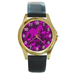 Pink Horses Horse Animals Pattern Colorful Colors Round Gold Metal Watch