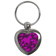 Pink Horses Horse Animals Pattern Colorful Colors Key Chains (heart)