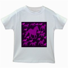 Pink Horses Horse Animals Pattern Colorful Colors Kids White T Shirts
