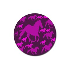Pink Horses Horse Animals Pattern Colorful Colors Magnet 3  (round)
