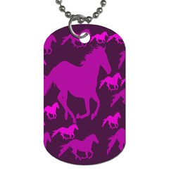 Pink Horses Horse Animals Pattern Colorful Colors Dog Tag (two Sides)