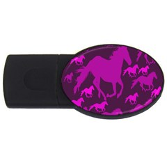 Pink Horses Horse Animals Pattern Colorful Colors USB Flash Drive Oval (2 GB)