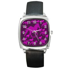 Pink Horses Horse Animals Pattern Colorful Colors Square Metal Watch