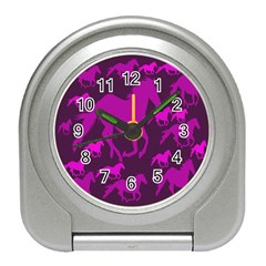 Pink Horses Horse Animals Pattern Colorful Colors Travel Alarm Clocks