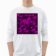 Pink Horses Horse Animals Pattern Colorful Colors White Long Sleeve T Shirts