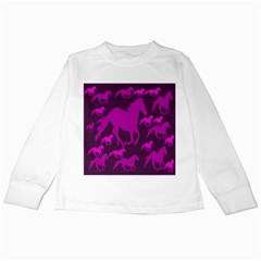 Pink Horses Horse Animals Pattern Colorful Colors Kids Long Sleeve T Shirts