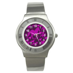 Pink Horses Horse Animals Pattern Colorful Colors Stainless Steel Watch