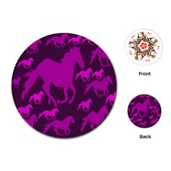 Pink Horses Horse Animals Pattern Colorful Colors Playing Cards (round)