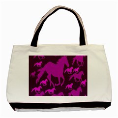 Pink Horses Horse Animals Pattern Colorful Colors Basic Tote Bag