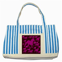 Pink Horses Horse Animals Pattern Colorful Colors Striped Blue Tote Bag