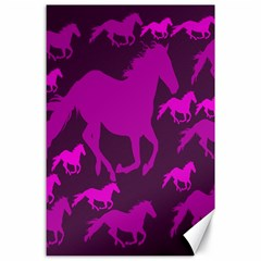 Pink Horses Horse Animals Pattern Colorful Colors Canvas 24  X 36