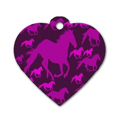 Pink Horses Horse Animals Pattern Colorful Colors Dog Tag Heart (one Side)