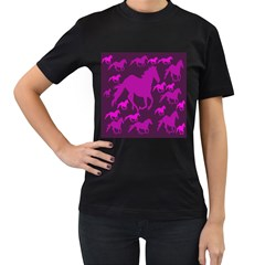 Pink Horses Horse Animals Pattern Colorful Colors Women s T Shirt (black)