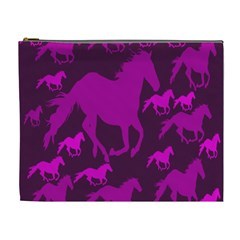 Pink Horses Horse Animals Pattern Colorful Colors Cosmetic Bag (xl)