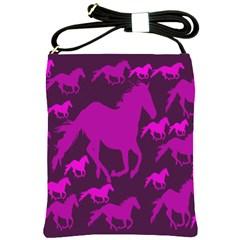 Pink Horses Horse Animals Pattern Colorful Colors Shoulder Sling Bags