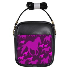 Pink Horses Horse Animals Pattern Colorful Colors Girls Sling Bags