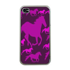 Pink Horses Horse Animals Pattern Colorful Colors Apple iPhone 4 Case (Clear)