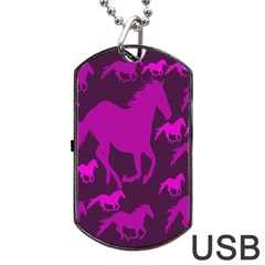 Pink Horses Horse Animals Pattern Colorful Colors Dog Tag USB Flash (Two Sides)