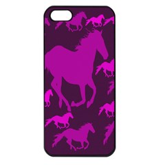 Pink Horses Horse Animals Pattern Colorful Colors Apple iPhone 5 Seamless Case (Black)