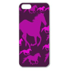 Pink Horses Horse Animals Pattern Colorful Colors Apple Seamless Iphone 5 Case (clear)