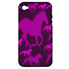 Pink Horses Horse Animals Pattern Colorful Colors Apple iPhone 4/4S Hardshell Case (PC+Silicone)