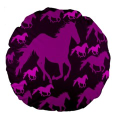 Pink Horses Horse Animals Pattern Colorful Colors Large 18  Premium Round Cushions