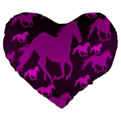 Pink Horses Horse Animals Pattern Colorful Colors Large 19  Premium Heart Shape Cushions
