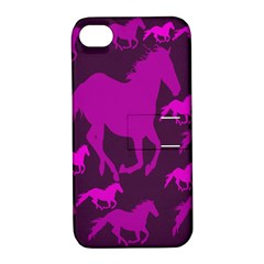 Pink Horses Horse Animals Pattern Colorful Colors Apple iPhone 4/4S Hardshell Case with Stand