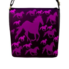 Pink Horses Horse Animals Pattern Colorful Colors Flap Messenger Bag (L)