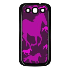 Pink Horses Horse Animals Pattern Colorful Colors Samsung Galaxy S3 Back Case (Black)